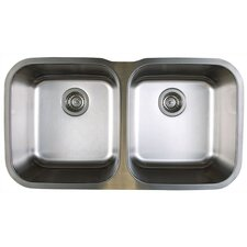 "Stellar 33.33"" x 18.5"" Equal Double Bowl Undermount Kitchen Sink"