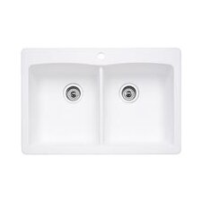 "Diamond 33"" x 22"" Equal Double Bowl Drop-In Kitchen Sink"