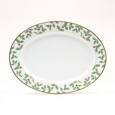 "Holly and Berry Gold 14"" Oval Platter"