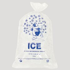 8 Pound Ice Bag, 1.50 Mil in Clear / Blue