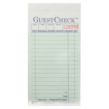 "3.4"" W Two-Part Carbonless Guest Check Pad"