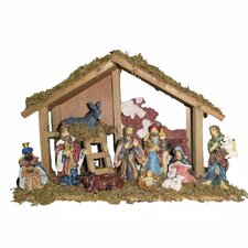 Wooden 10 Piece Stable Resin Figures Nativity