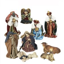 Resin 10 Piece Dressed Nativity Figure Set