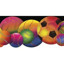 Whimsical Children's Vol. 1 Neon Sports Balls Die-Cut Border in Black