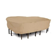 Terrazzo Collection Patio Table and Chair Set Cover in Tan, Large Rectangular