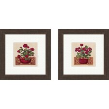 Floral Red Geraniums Framed Art (Set of 2)