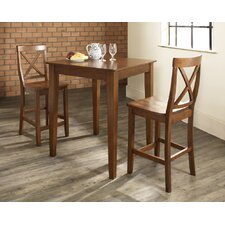 Three Piece Pub Dining Set with Tapered Leg Table and X-Back Barstools in Classic Cherry