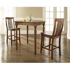 Three Piece Pub Dining Set with Turned Leg Table and Barstools in Classic Cherry