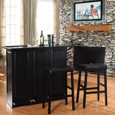 "Mobile Folding Bar in Black with 29"" Upholstered Saddle Stool in Black"