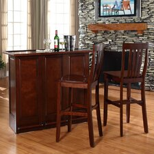 "Mobile Folding Bar in Vintage Mahogany with 30"" School House Stool in Mahagony"
