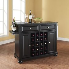 Alexandria Kitchen Island with Black Granite Top
