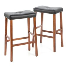 "Upholstered 29"" Saddle Seat Bar Stool in Classic Cherry Finish"
