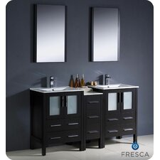 "Torino 60"" Modern Double Sink Bathroom Vanity Set with Side Cabinet and Undermount Sinks"