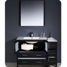 "Torino 48"" Modern Bathroom Vanity Set with Side Cabinet and Undermount Sinks"