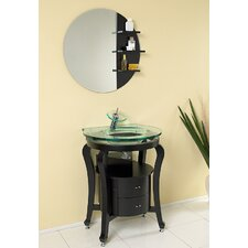 "Classico 25.5"" Simpatico Modern Bathroom Vanity Set with Mirror and Shelves"