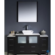 "Torino 60"" Modern Bathroom Vanity Set with 2 Side Cabinets and Vessel Sink"