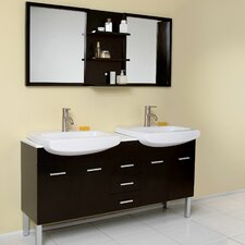 "Stella 59"" Vetta Modern Double Sink Bathroom Vanity Set with Mirror"