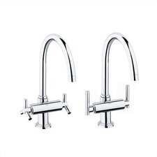 Atrio High Profile Double Handle Single Hole Bridge Faucet Set