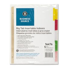 "Index Dividers, 5-Tab, 11""x8-1/2"", White Stock/Multi Tabs"