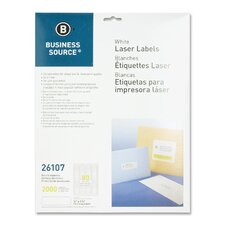 "Mailing Labels, Return Address, Laser, 1/2""x1-3/4"", 2000 per Pack, White"