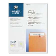 "Block-Out File Folder Labels, Laser/Inkjet, 750 per Pack, 2/3""x3-7/16, White"