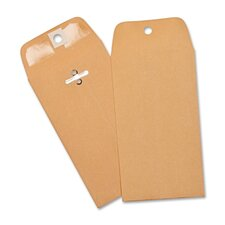 "Heavy-duty Clasp Envelopes,3-3/8""x6"",100 per Box,Brown Kraft"