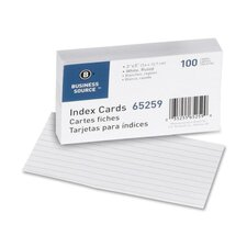 "Index Cards, Ruled, 90lb., 3""x5"", 100 per Pack, White"