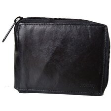Leather Zip-A-Round Bifold Wallet in Black