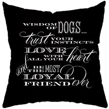 Dog Wisdom Poly Cotton Throw Pillow
