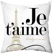 Personalized Je'taime Poly Cotton Throw Pillow