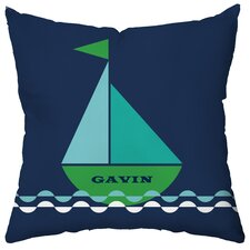Personalized Smooth Sailing Poly Cotton Throw Pillow