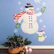 Snowman Vinyl Holiday Mural Peel and Stick