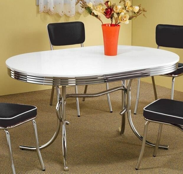 Vintage Chrome Kitchen Table: Oval Chrome Retro 50s Vintage Kitchen Dining RoomTable 4 Blk Chairs Dinette Set