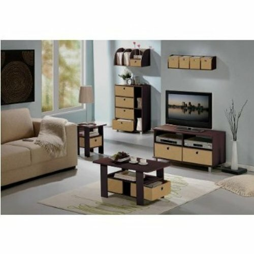 Details About Espresso Coffee End Table TV Stand Furniture Set Home