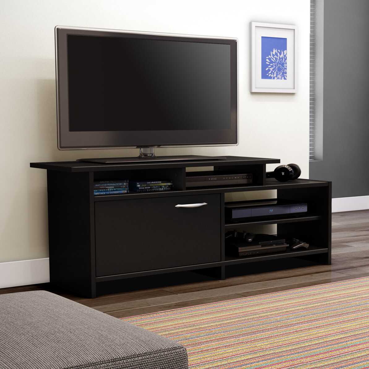 black tv stand 60 inch flat screen entertainment center contemporary elegant new ebay. Black Bedroom Furniture Sets. Home Design Ideas