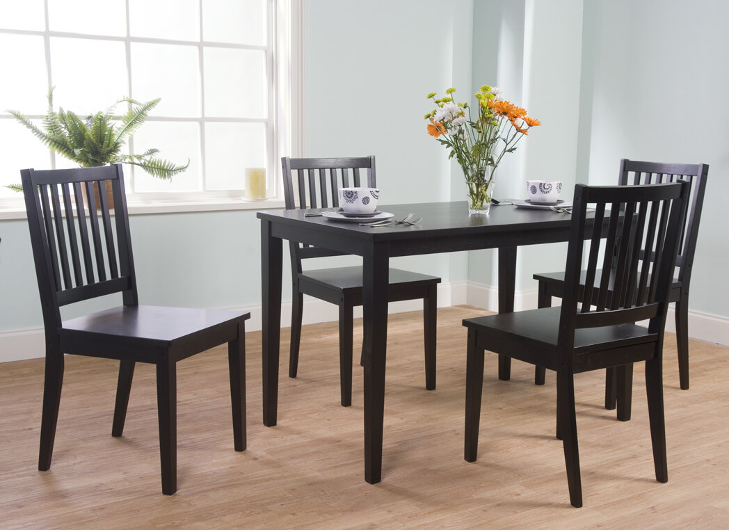 Black 5 piece dining set table 4 chairs kitchen room for Kitchen set simple
