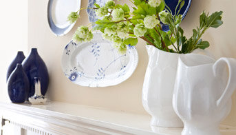 blue plates mantel