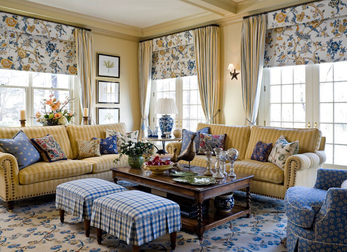 French Country Blue Living Room