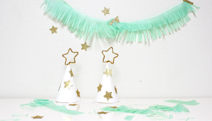 diy sparkly kids party hats